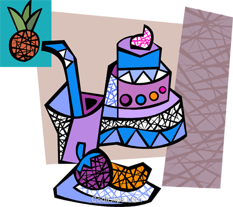 Triple layer cake with drink and berries Royalty Free Vector Clip Art illustration vc094281