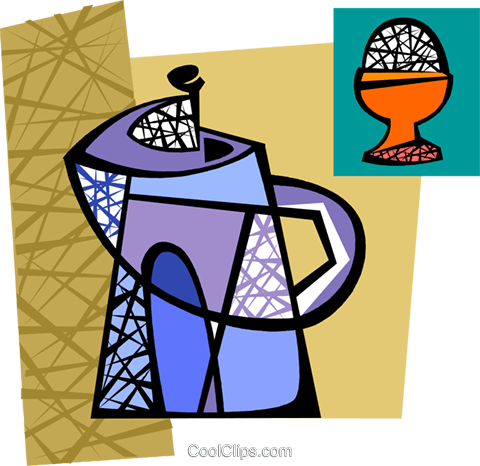 Coffee pot with hard boiled egg Royalty Free Vector Clip Art illustration vc094283