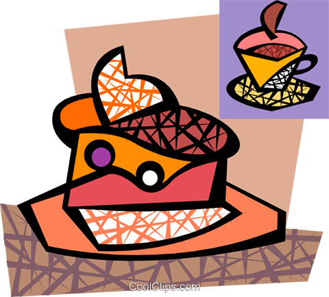Cake with whipped cream Royalty Free Vector Clip Art illustration vc094284
