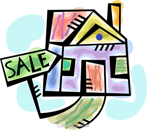 House for sale Royalty Free Vector Clip Art illustration vc094298