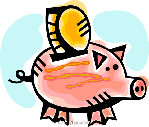 Piggy bank with change Royalty Free Vector Clip Art illustration vc094299
