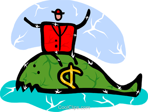 Businessman on whale with money sign Royalty Free Vector Clip Art illustration vc094376