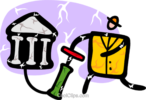 man with air pump and bank symbol Royalty Free Vector Clip Art illustration vc094377