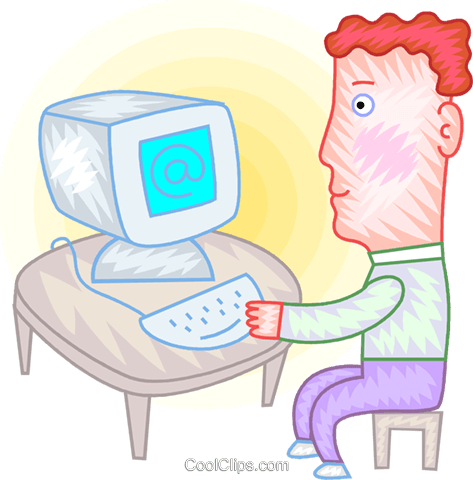 Man checking his e-mail Royalty Free Vector Clip Art illustration vc094387