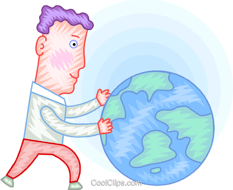 Man with planet earth Royalty Free Vector Clip Art illustration vc094389