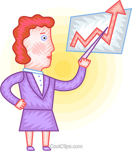Woman charting success Royalty Free Vector Clip Art illustration vc094390