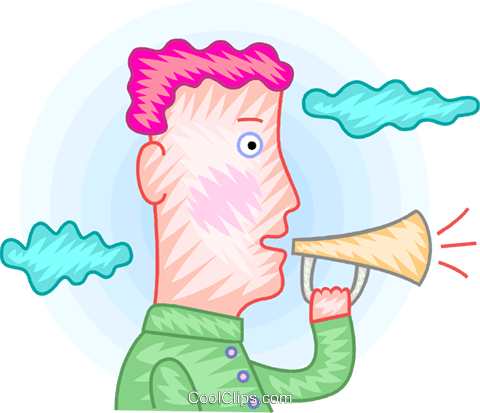 Man making announcements Royalty Free Vector Clip Art illustration vc094391