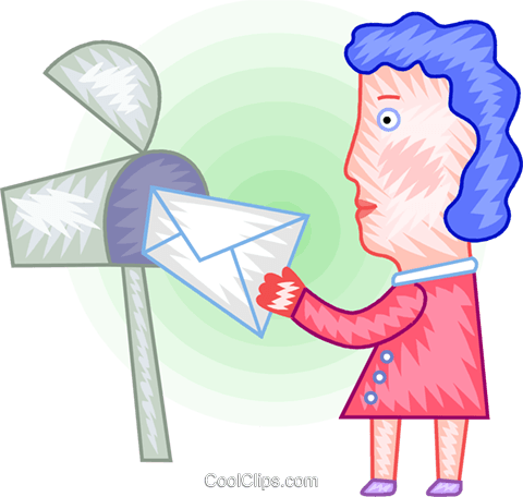 Woman getting a letter from her mailbox Royalty Free Vector Clip Art illustration vc094392