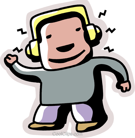 Boy listening to music Royalty Free Vector Clip Art illustration vc094405