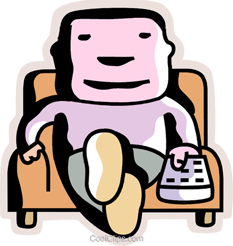Man relaxing at home in his chair Royalty Free Vector Clip Art illustration vc094406