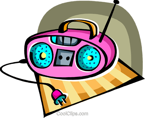 Portable cassette player Royalty Free Vector Clip Art illustration vc094419