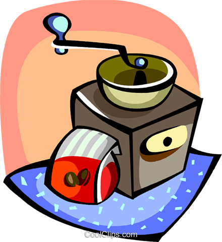 Coffee grinder with beans Royalty Free Vector Clip Art illustration vc094420