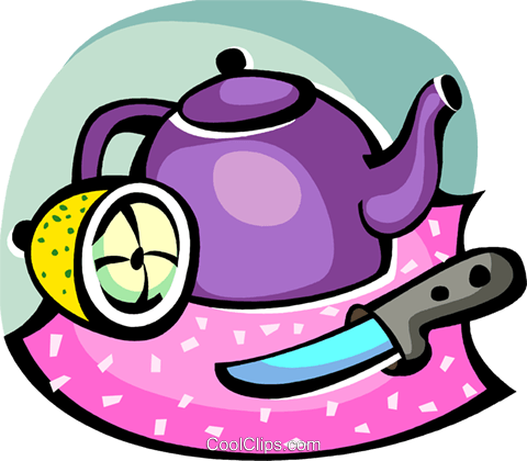 Teapot with sliced lemon and sharp knife Royalty Free Vector Clip Art illustration vc094421