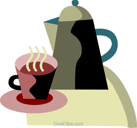 Coffee pot and cup of coffee Royalty Free Vector Clip Art illustration vc094429