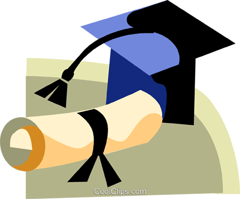 Graduation cap and diploma Royalty Free Vector Clip Art illustration vc094431