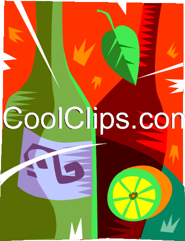 Bottle of wine with sliced lemon Royalty Free Vector Clip Art illustration vc094435
