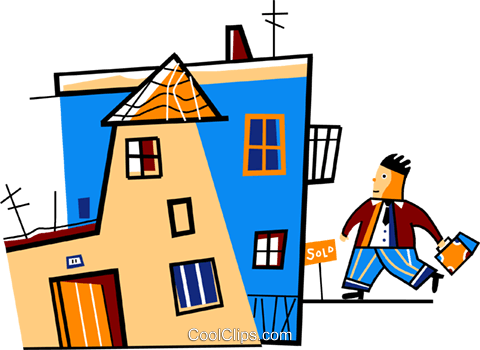 Businessman coming home after work Royalty Free Vector Clip Art illustration vc094447