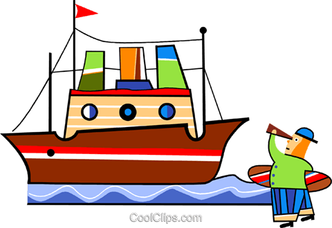 Boy with telescope watching ship go by Royalty Free Vector Clip Art illustration vc094448