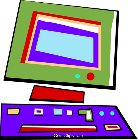 Computer workstation Royalty Free Vector Clip Art illustration vc094453