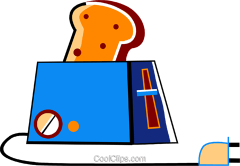 Toaster with bread Royalty Free Vector Clip Art illustration vc094457