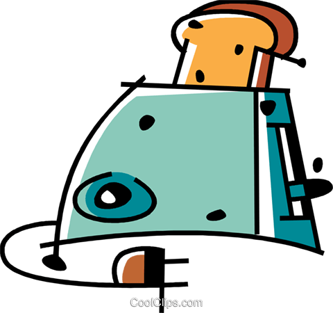 Toaster with bread Royalty Free Vector Clip Art illustration vc094470