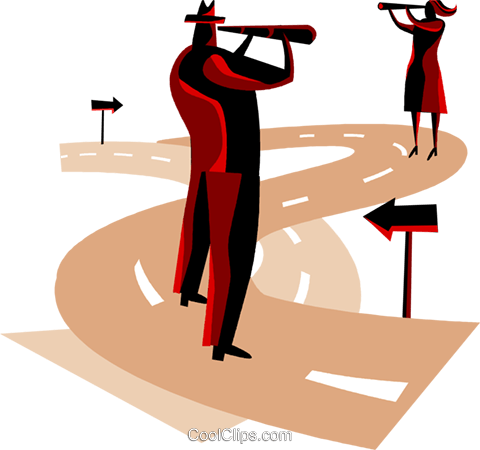 man and woman making decisions Royalty Free Vector Clip Art illustration vc094471