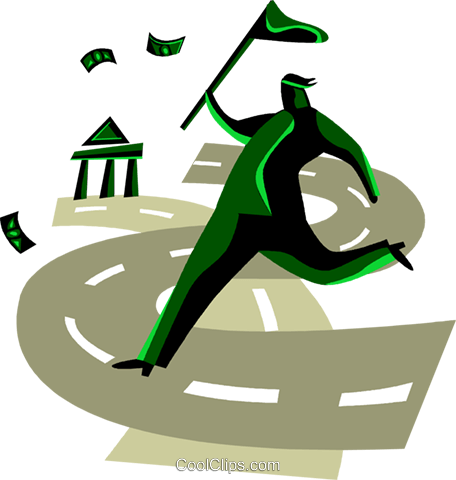 Financial concept man chasing money Royalty Free Vector Clip Art illustration vc094472
