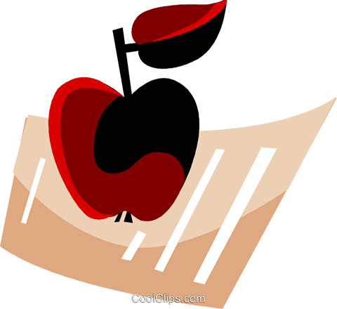 Apple and document Royalty Free Vector Clip Art illustration vc094476