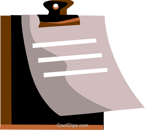 Clipboard with papers Royalty Free Vector Clip Art illustration vc094479