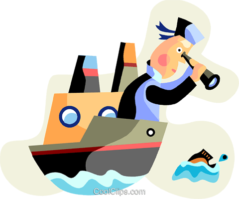 Commercial fisherman looking for fish Royalty Free Vector Clip Art illustration vc094483