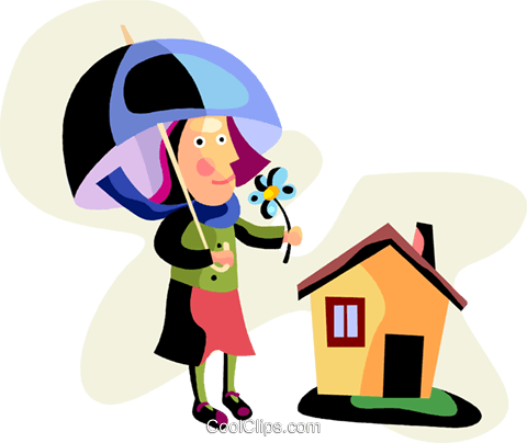 Woman with umbrella and flower Royalty Free Vector Clip Art illustration vc094484
