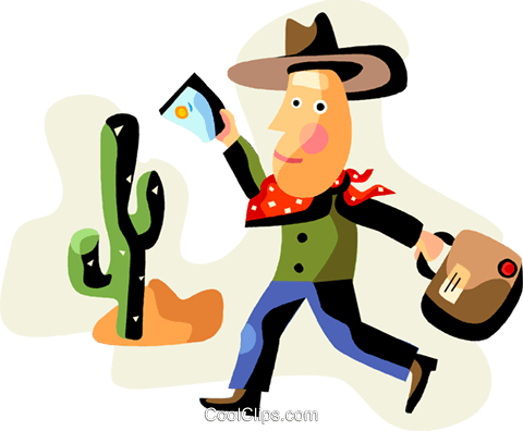 Man dressed as cowboy in the desert Royalty Free Vector Clip Art illustration vc094485
