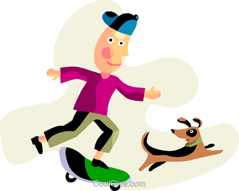 Boy on a skateboard walking his dog Royalty Free Vector Clip Art illustration vc094486