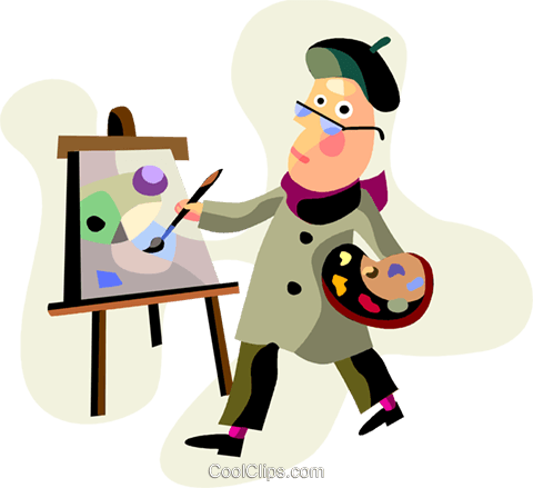 Artist painting on canvass Royalty Free Vector Clip Art illustration vc094487