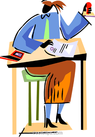 Student at her desk Royalty Free Vector Clip Art illustration vc094496