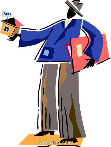 Real estate agent selling a house Royalty Free Vector Clip Art illustration vc094497