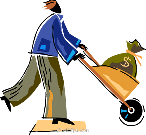 Man with wheelbarrow full of money Royalty Free Vector Clip Art illustration vc094498