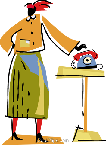 Woman at home answering her phone Royalty Free Vector Clip Art illustration vc094499