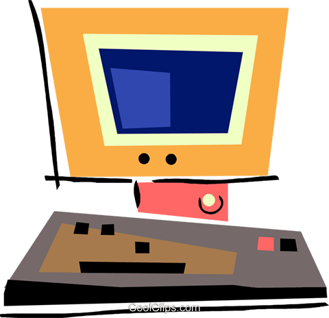 Computer workstation Royalty Free Vector Clip Art illustration vc094502