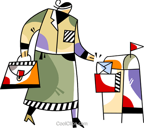 Woman dropping off mail Royalty Free Vector Clip Art illustration vc094508