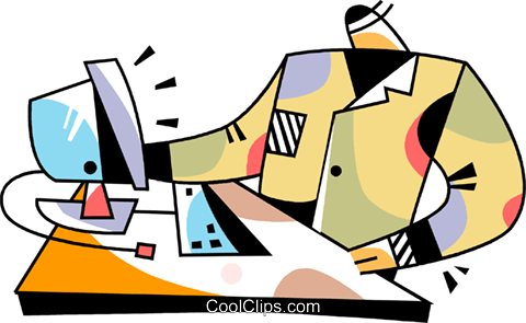 Man at his desk with computer Royalty Free Vector Clip Art illustration vc094509