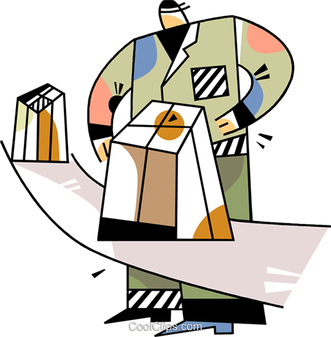 Worker on the assembly line Royalty Free Vector Clip Art illustration vc094510