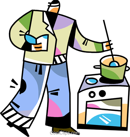 Man cooking dinner Royalty Free Vector Clip Art illustration vc094511