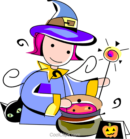 Trick or treating witch Royalty Free Vector Clip Art illustration vc094522