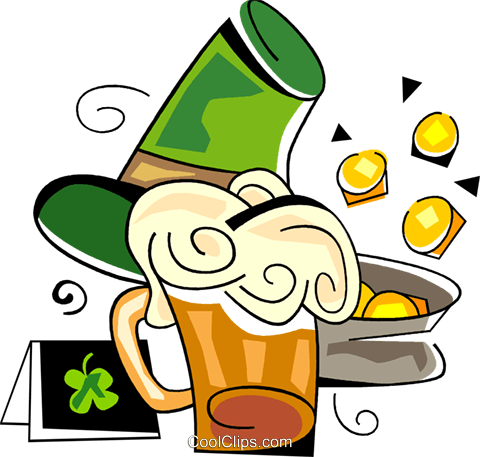 St. Patrick's day beer and pot of gold Royalty Free Vector Clip Art illustration vc094530