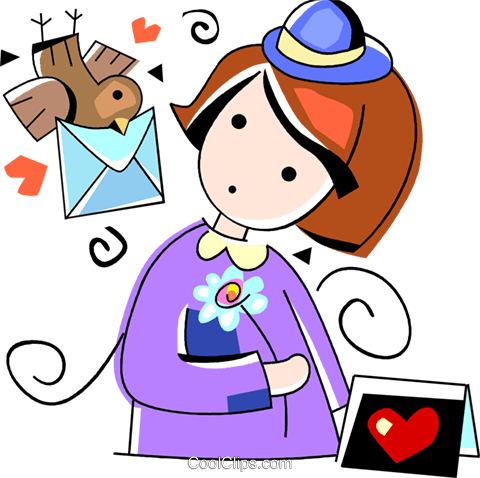 Girl receiving a valentines day card Royalty Free Vector Clip Art illustration vc094531