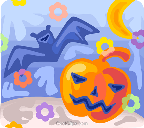 Bat and pumpkin Royalty Free Vector Clip Art illustration vc094544