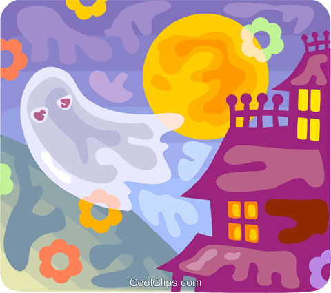 Ghost and haunted house Royalty Free Vector Clip Art illustration vc094545