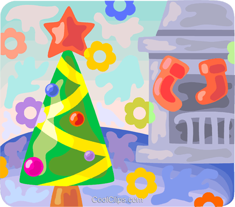 Christmas tree with stockings Royalty Free Vector Clip Art illustration vc094547