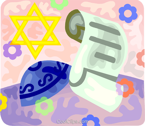 Scroll with Star of David and Royalty Free Vector Clip Art illustration vc094549